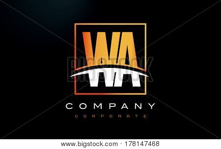Wa W A Golden Letter Logo Design With Gold Square And Swoosh.