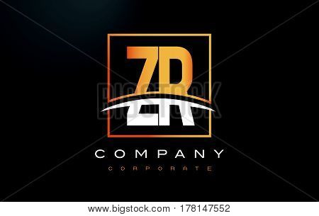 Zr Z R Golden Letter Logo Design With Gold Square And Swoosh.