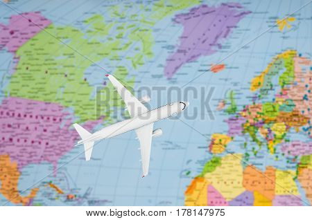Flight To Europe Symbolic Image Of Travel By Plane Map