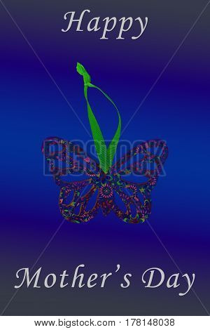 A handmade butterfly ready for decoration with a neon feel and gradient background