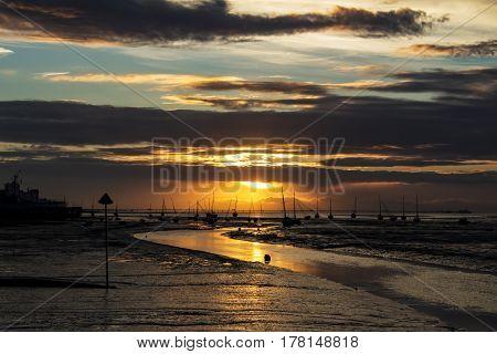 Sun rise at sea as dawn breaks