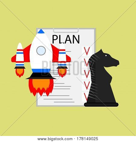 Plan strategy and tactics of launching startup. Launch rocket and organization mission vector illustration