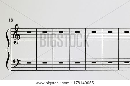 Piano Notation paper with treble and bass
