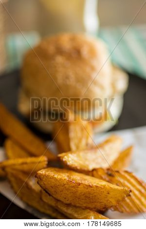 Depth of field photo of burger and hand cut fries on a plate.