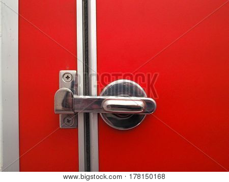 Toilet door latch On the bright red ground