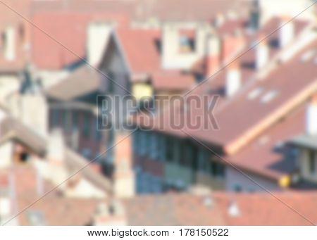 Red Tiled Roofs Blurred Defocused Background