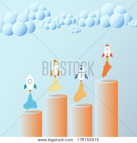 Business Growth Concept. Rocket. Useful For Advertising, Social Media, Start Up.
