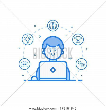 Vector illustration of blue icon in flat line style. Linear cute and happy man with laptop. Graphic design concept of art Director use in Web Project and Applications Outline filled isolated object.