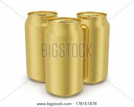 Gold Drink Cans 3D Illustration