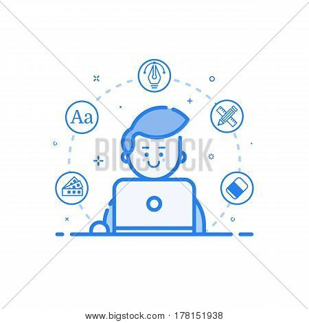 Vector illustration of blue icon in flat line style. Linear cute and happy man with laptop. Graphic design concept of graphic designer use in Web Project Outline filled isolated object.