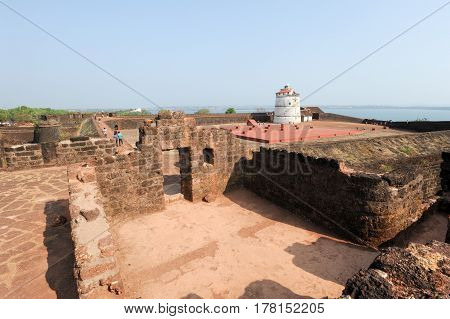 People Visiting The Fort Aguada On Goa, India
