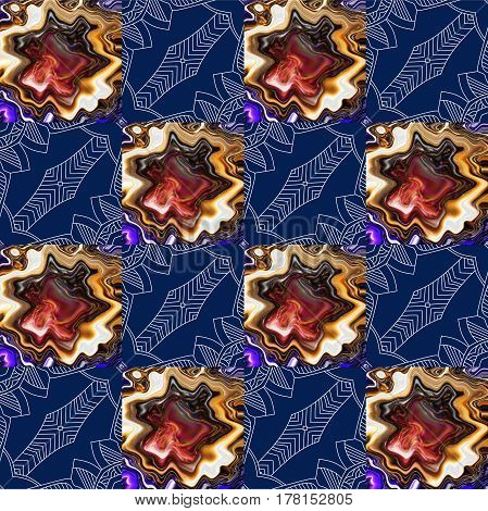 Abstract seamless pattern with ornamental squares. Endless print.