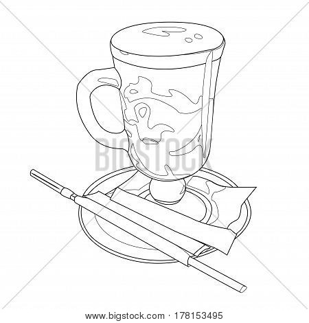 Cute coffee cup. Doodle cappuccino latte illustration. Vector drink image. Vector illustration