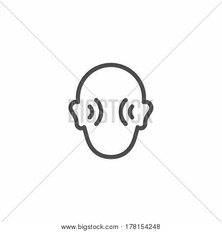 Human hearing line icon isolated on white. Vector illustration