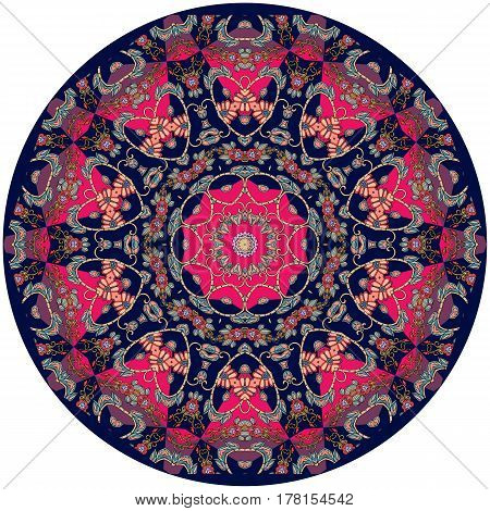 Decorative plate with beautiful ornament with mandala. Interior design. Vector illustration. Indian motives.