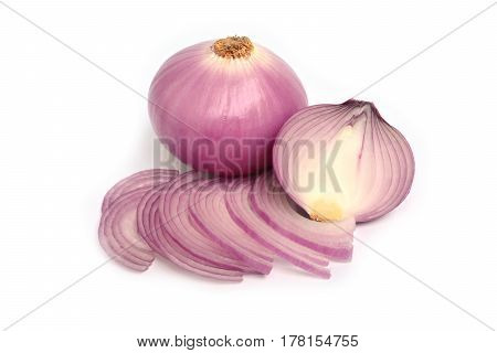 shallots with half shallots isolated on white background
