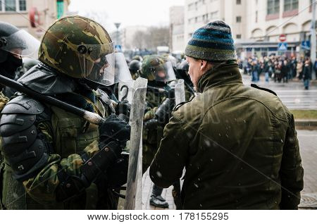 Minsk Belarus - March 25 2017 - Belarusian people participate in the protest against the decree 3 'On prevention of social parasitism' of President Lukashenko and the current authorities.