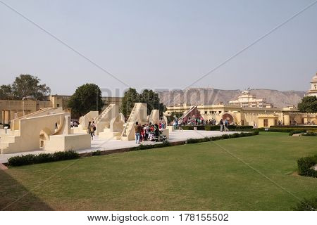 JAIPUR, INDIA - FEBRUARY 16: Famous Observatory Jantar Mantar, a collection of huge astronomical instruments in Jaipur, Rajasthan, India on February 16, 2016.