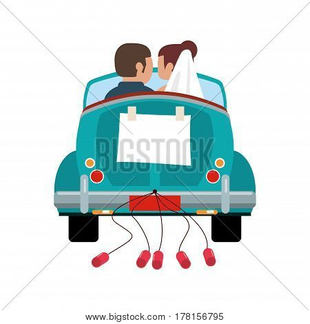 couple driver car just married vector illustration eps 10