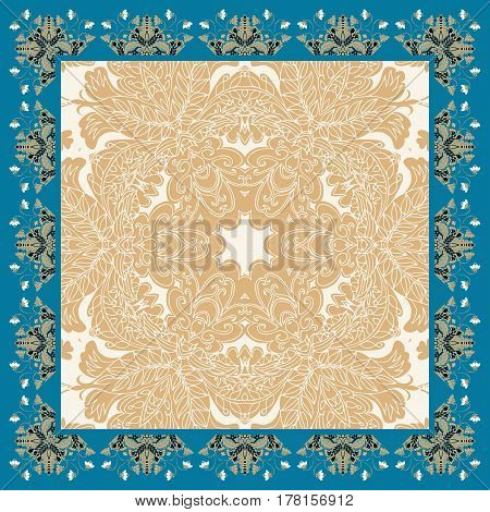 Lovely tablecloth with floral frame. Kerchief design. Bandana prints and napkins. Vector image.