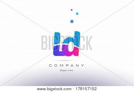 Ld L D  Pink Blue White Modern Alphabet Letter Logo Icon Template