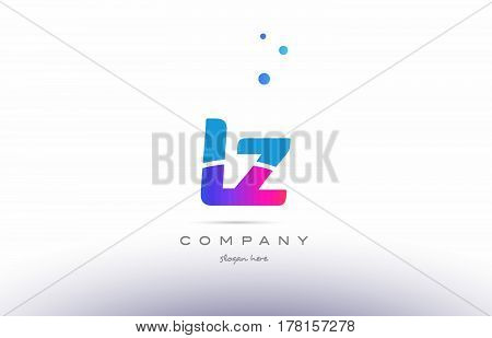 Lz L Z  Pink Blue White Modern Alphabet Letter Logo Icon Template