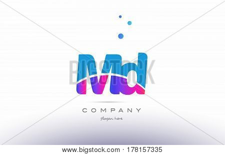 Md M D  Pink Blue White Modern Alphabet Letter Logo Icon Template