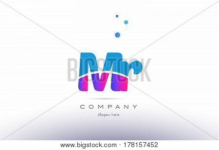 Mr M R  Pink Blue White Modern Alphabet Letter Logo Icon Template