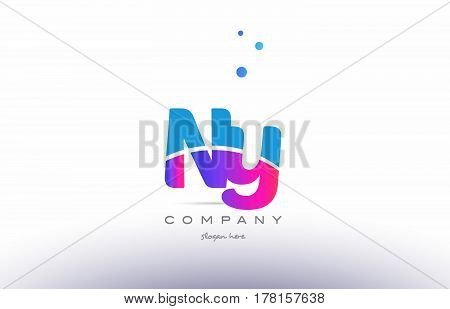 Ny N Y  Pink Blue White Modern Alphabet Letter Logo Icon Template