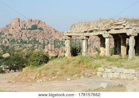 Hampi, India - 13 January 2015: Ancient ruins of Vijayanagara Empire in Hampi Karnataka India
