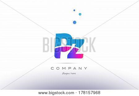 Pz P Z  Pink Blue White Modern Alphabet Letter Logo Icon Template