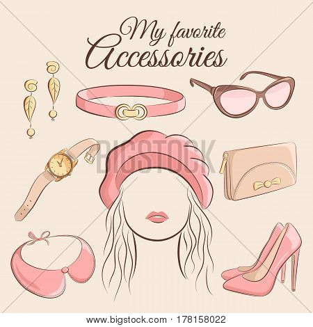 Fashion vector set. Illustration of a stylish trendy accessory with a girl. Beret, earrings, belt, sunglasses, watches, detachable collar, clutch or purse and shoes. Illustration in hand drawing style.