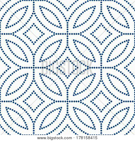 Abstract blue background. Floral pattern. Seamless vector design element. Intricate round ornament. Unusual dots texture. Fashionable fabric, furniture cloth print, wallpaper, interior decoration.
