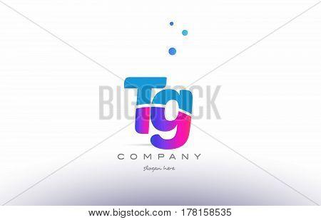 Tg T G  Pink Blue White Modern Alphabet Letter Logo Icon Template