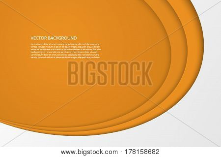 Vector modern simple oval orange and white background with paper effect. 3D ovals with soft shadows. Sample text.