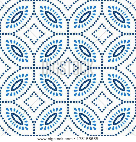 Abstract floral pattern. Seamless blue background. Vector design element. Intricate round ornament. Unusual dots texture. Fashionable fabric, furniture cloth print, wallpaper, interior decoration.