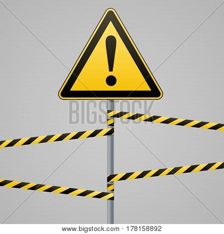 Caution - danger Warning sign safety. A yellow triangle with a black image. The sign on the pole and protecting ribbons. Vector Image.