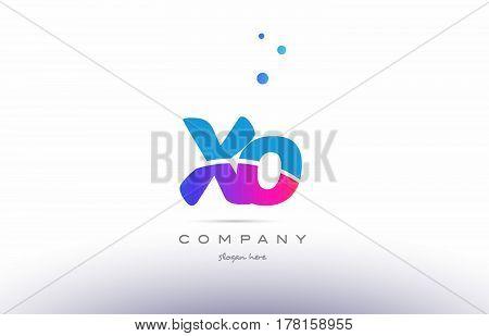 Xo X O  Pink Blue White Modern Alphabet Letter Logo Icon Template