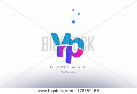 Yp Y P  Pink Blue White Modern Alphabet Letter Logo Icon Template