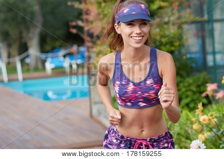 woman doing fitness exercises outside
