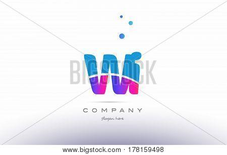 Wi W I  Pink Blue White Modern Alphabet Letter Logo Icon Template