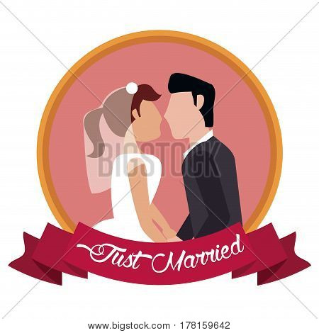 just married couple together label vector illustration eps 10