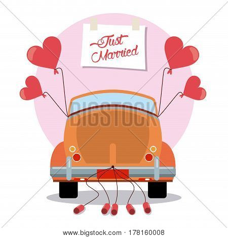just married vintage car decoration vector illustration eps 10
