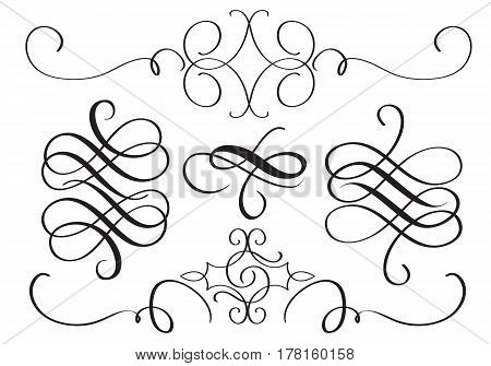 art calligraphy flourish of vintage decorative whorls for design. Vector illustration EPS10.