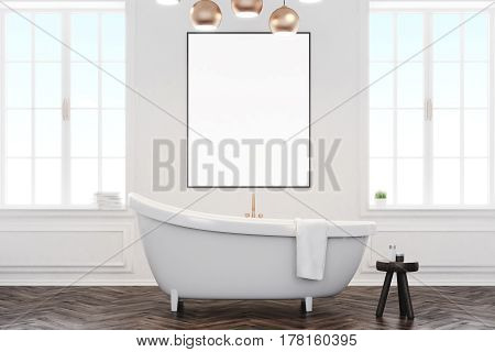 Gray Bathroom Interior With Poster