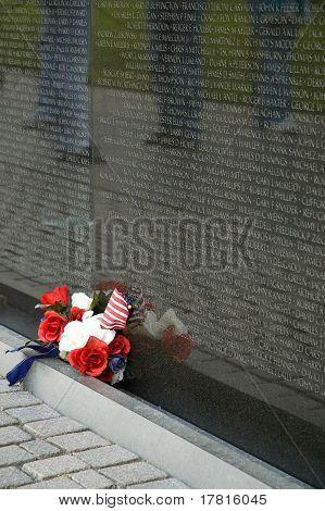 Flowers At Vietnam Memorial