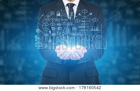 Man And Business Plan Hologram