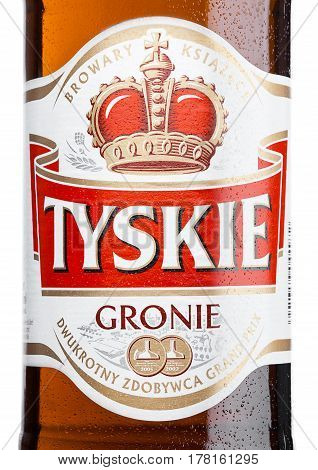 London,uk - March 23, 2017 : Bottle Label Of Tyskie Beer On White. Yskie Beer Was First Brewed In 16