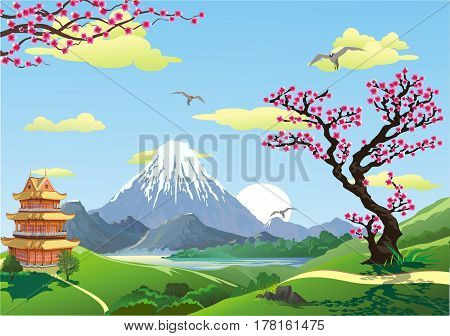Japanese pagoda at the foot of the mountain. The cherry blossoms. The sunrise over the mountains. Mountain lake. Landscape in vector form