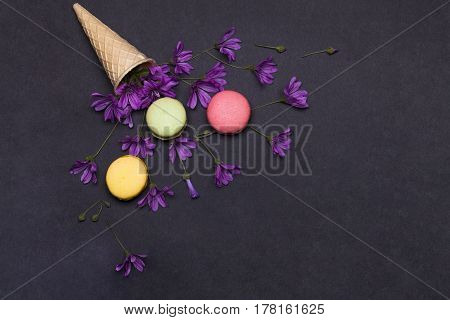 Colorful Macaron, Tasty Cookies In Waffle, Wafer Ice Cream Cone
